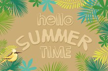 Tropical summer card and pattern