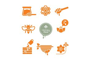 bee and honey symbol set