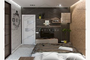 Modern bedroom interior, 3d render
