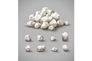 Set of rocks and stone pile vector