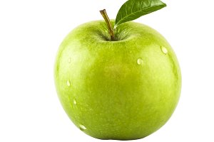 Healthy apple with leaf