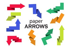 Set of multi-colored paper arrows
