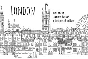 London - Seamless Banner & Pattern