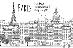 Paris - Seamless Banner and Pattern