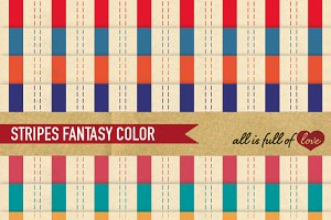 8 Multicolored Stripes Paper Pack