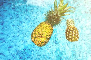 Large and Small Pineapple Floating