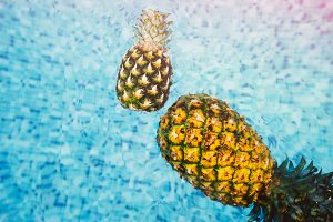 Pineapples Floating Together