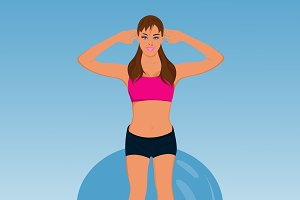 fitness girl with stability ball