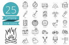 25 Camping Line Icons