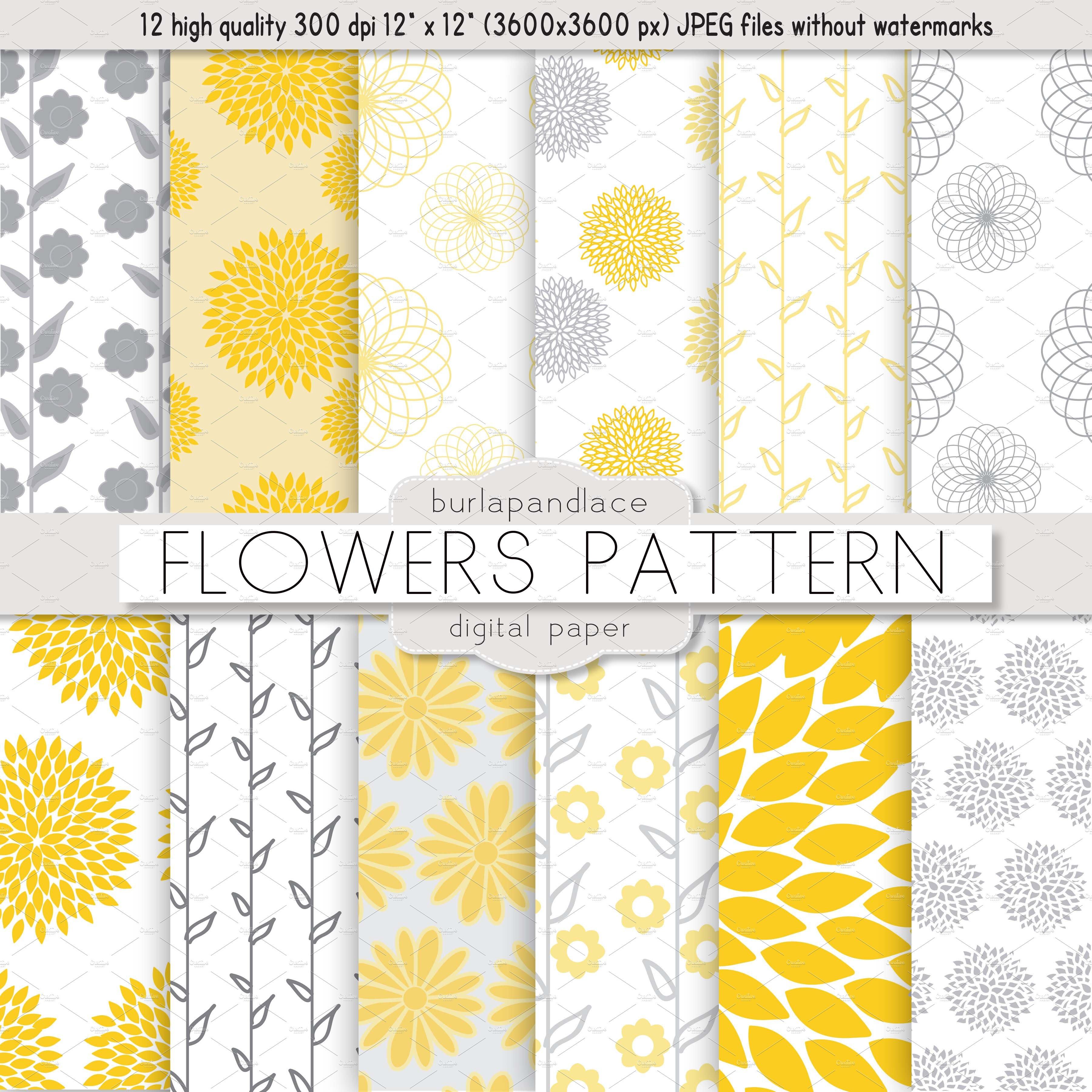 Flower Yellowgrey Pattern Graphic Patterns Creative Market