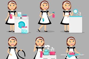 Housewife working icons