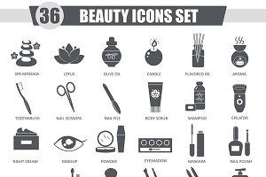 36 Beauty and cosmetics black icons.