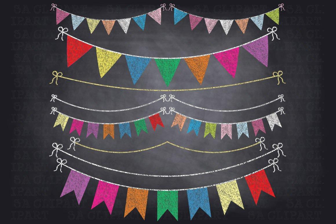 Chalkboard Bunting Banner Clipart ~ Illustrations ...