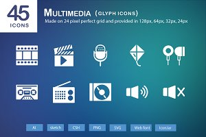 45 Multimedia Glyph Icons