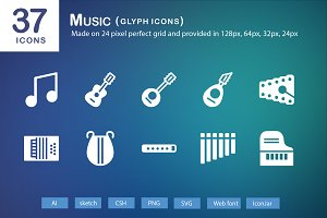37 Music Glyph Icons