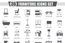 36 Furniture black icons set.