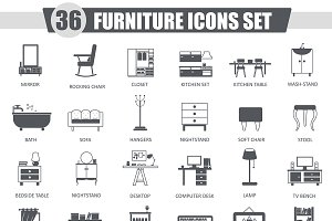 36 Furniture black icons set.