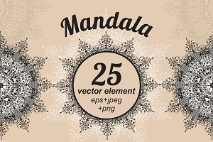 Collection of 25 vector mandalas