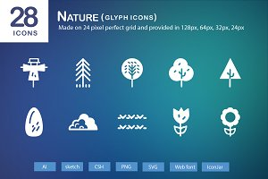 28 Nature Glyph Icons