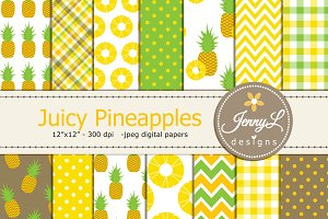 Juicy Pineapples Digital Papers