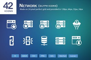 42 Network Glyph Icons