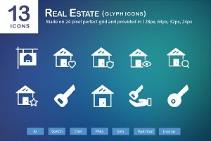 13 Real Estate Glyph Icons