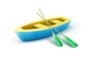 Wooden fisherman's boat with paddles for fishing