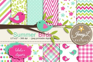 Summer Birds Digital Paper Clipart