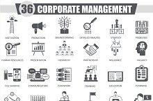 Corporate management black icons set