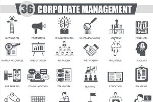 Corporate management black icons set