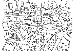 Line draw, futuristic city