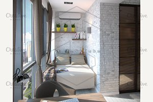 Modern bedroom balcony, 3d render