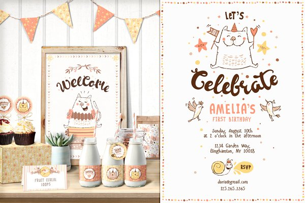 SAVE 40% • Cat Birthday Party