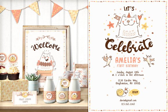 SAVE Cat Birthday Party Illustrations Creative Market - Birthday invitation fonts