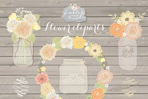 Vector Rustic wedding clip arts