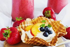creamy dessert with fruit