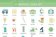 36 Medical flat icon set