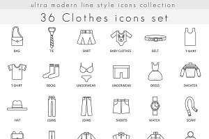 Clothes & footwear line icons set.