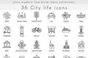36 Modern City life icons set.