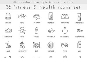36 Fitness & health line icons set.