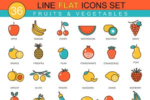Fruits &vegetables flat line icons.