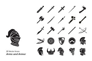 Arms and Armor vector icons
