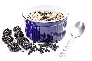 Muesli and blackberries