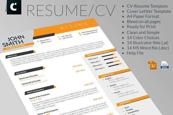 dynamic cv resume and cover letter resume templates creative market