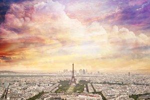 Paris skyline, unique sunset sky.
