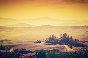 Tuscany landscape at sunrise.