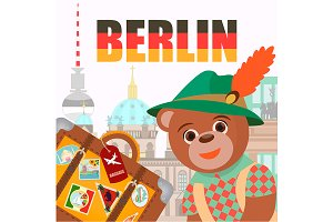Bear with a suitcase in Berlin