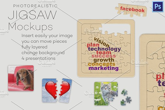 Download Photorealistic jigsaw puzzle mockups