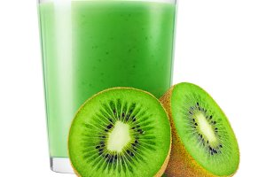 Isolated kiwi fruit smoothie