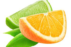 Isolated cut orange and lime